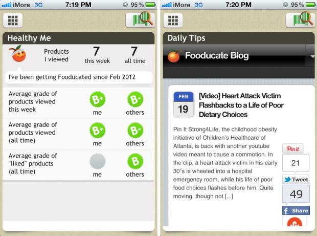 Compare your food choices to others with Fooducate