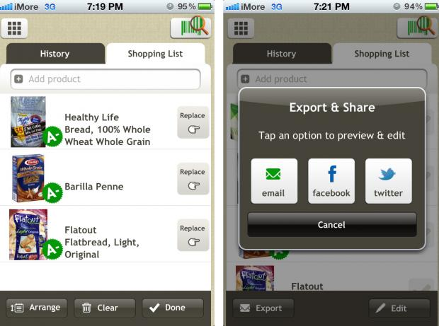 Create a shopping list and share it with Fooducate