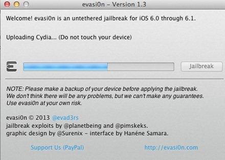 Evasi0n Uploading Cydia